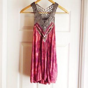 Free People Pink Tie Dye Tank Embellished Crochet